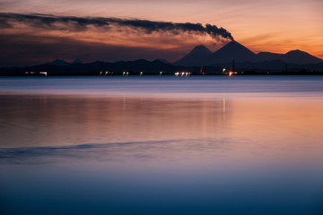 Lake with volcanoes