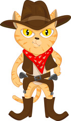 illustration of cute cat and revolvers