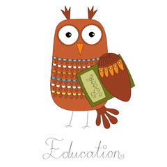 Owl education symbol vector illustration