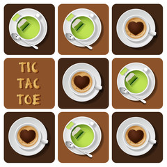 Tic-Tac-Toe of green tea and cappuccino