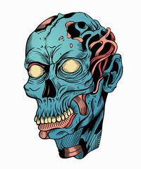 Illustration of blue zombie head.