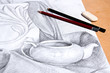 Drawing of still life by graphite pencil. - 81725801