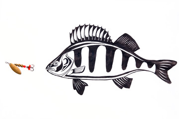 Fishing metal bait with ink drawing fish.