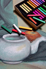 Artist pastels and original pastel drawing of still life.