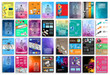 Set of Flyers, background, infographics, low polygon backgrounds