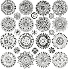 Big set of mandalas and flowers
