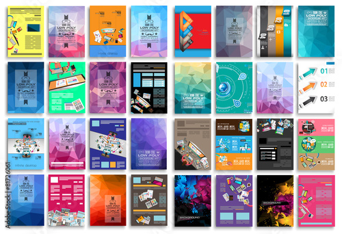 Set of Flyers, background, infographics, low polygon backgrounds - 81726061