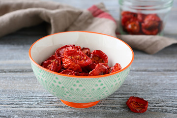 Delicious sun-dried tomatoes in a bowl