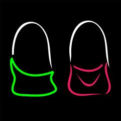 Abstract drawing of stylish handbags- handbag fashion logo