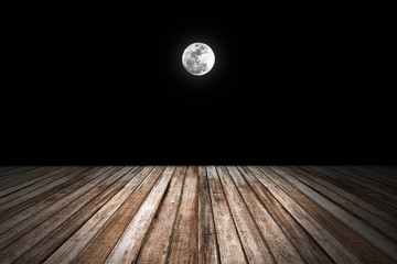 Night sky with  full moon, wooden planks. Elements of this image