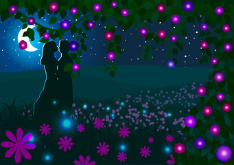 Love couple on a background of a flowering meadow at night.