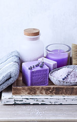 Still Life with Lavender Bath Products