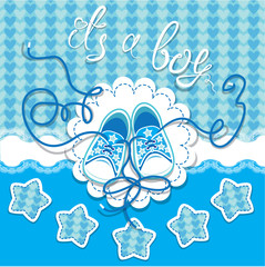 Holiday Dard children gumshoes on blue background - design for b
