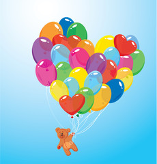 Image with colorful balloons in heart shape and teddy bear on sk