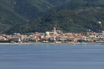 Resort on Mediterranean coast. Albissola-Marina, Savona, Italy