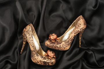 High-heeled shoes  lying on black  fabric