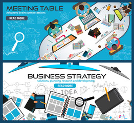 Flat Style Design Concepts for business strategy, brainstorming
