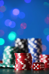 Chips for poker on shiny background