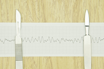 Silver scalpel put on paper of heart line wave