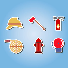 color set  with firefighter flat icons for your design