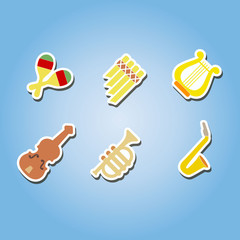 set of color icons with musical instruments for your design