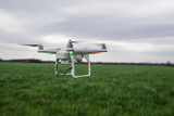 Flying Drone over a field