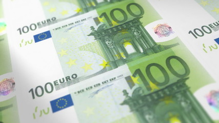 Money Printing 100 EURO Bills Loop