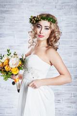 Beautiful bride wearing a wreath