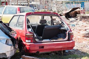 Crashed old cars