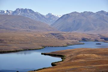 Tekapo lake mountain landscape.
