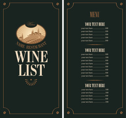 wine menu with vineyard scenery on a black background