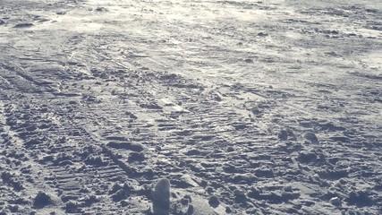 Snowstorm above winter road