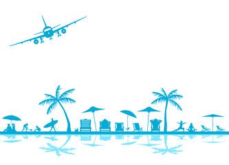 Strand mit Flugzeug