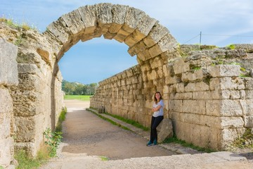 Rocky arch entrance to stadium of ancient Olympia.