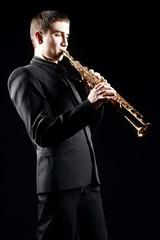 Saxophone player Saxophonist with soprano