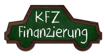 Kreidetafel in Autoform mit KFZ Finanzierung