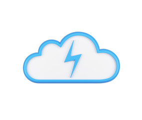 The icon of cloud with the energy sign. Isolated.