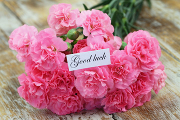 Good luck card with pink carnation flowers