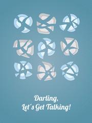 """Funny postcard """"Darling, Let's Get Talking!"""" Vector Illustration"""