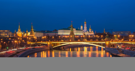 Night panoramic view of Moscow Kremlin, Russia