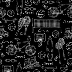 Vector pattern with hand drawn sport equipment on black color