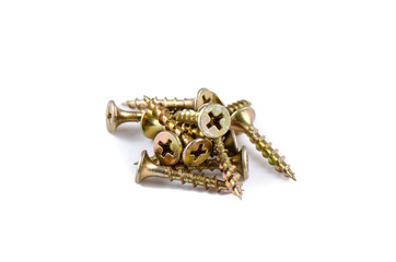 Golden screws isolated on white