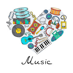 Vector stylized heart with hand drawn symbols of music on white