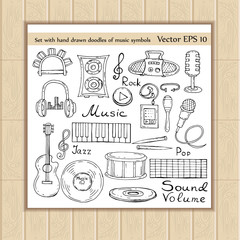 Vector set with hand drawn doodles of music symbols