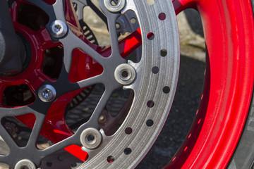 disk on new shiny motorbike