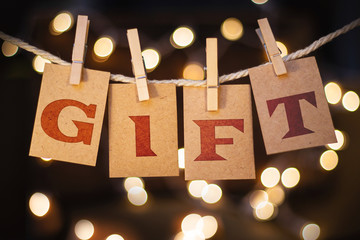 Gift Concept Clipped Cards and Lights