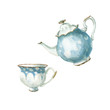 watercolor tea set - 81735462
