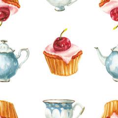 watercolor cake and tea set