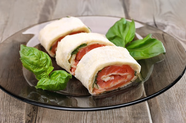 Lavash rolls with salmon and cheese