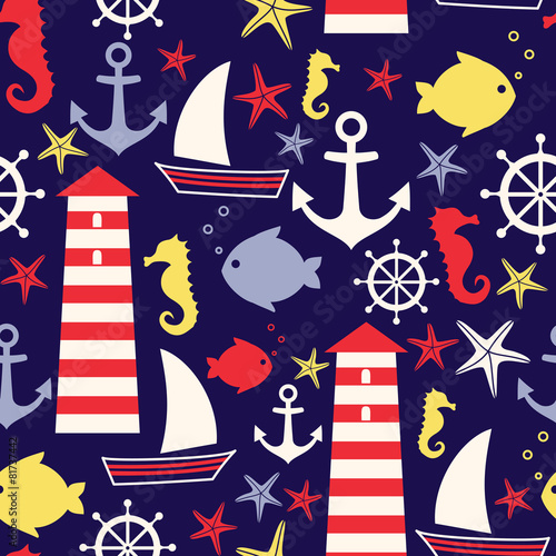 Cotton fabric Seamless nautical pattern: sailboat, lighthouse, fish, anchor,